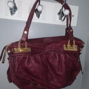 b. makowsky wine leather purse bag